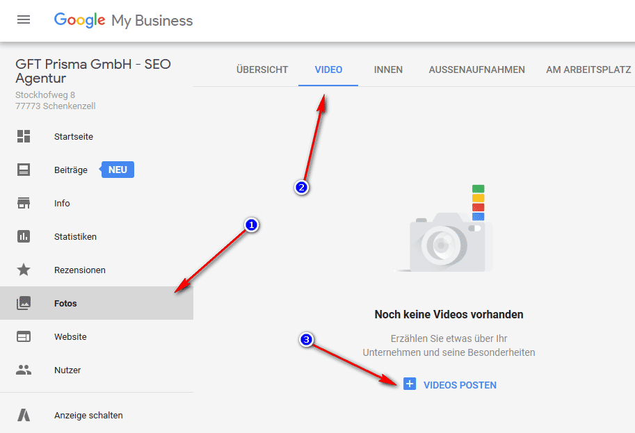 Upload Filme Google My Business