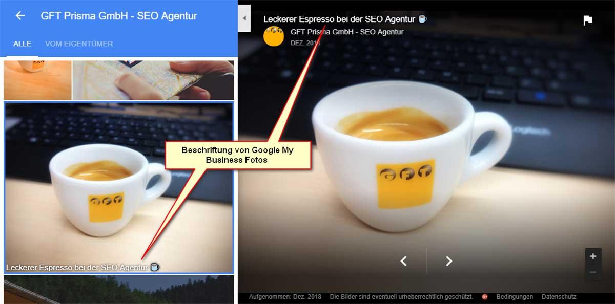 Google My Business Foto Beschriftung